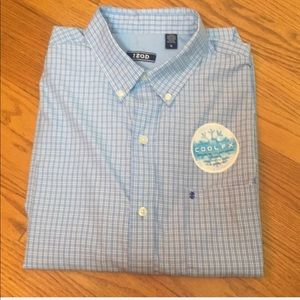 NWT IZOD Breeze LS Cool FX Casual Blue Button Down